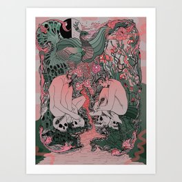 Two Sisters I: Peacock & Melon Art Print