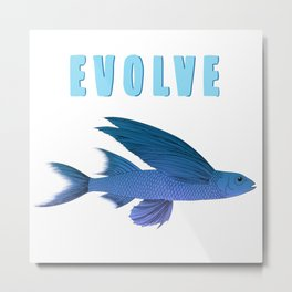 Blue fish with wings evolve- evolution message graphic  Metal Print