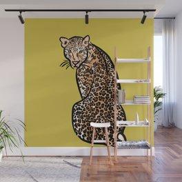 Jungle Cat | Green Yellow Wall Mural