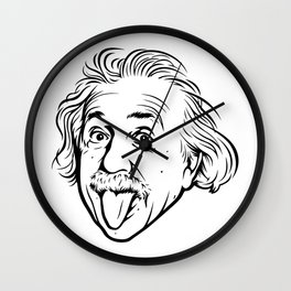 Albert Einstein Artwork With his famous photo showing tongue, Tshirts, Prints, Posters, Bags Wall Clock