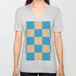 classic retro checked pattern Machyles Unisex V-Neck