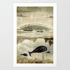 paper II :: whales/ships Art Print
