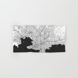 Montevideo Map Gray Hand & Bath Towel