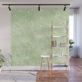 Lime Green Silk Moire Pattern Wall Mural