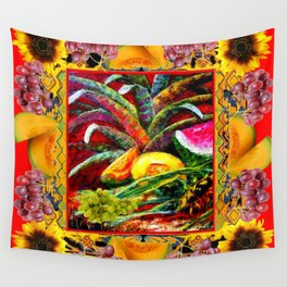 RED HARVEST STILL LIFE  FRUIT ART Wall Tapestry
