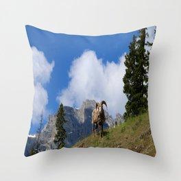 Ram Against Mountain Backdrop Throw Pillow