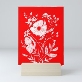 RED & WHITE FLORAL Mini Art Print