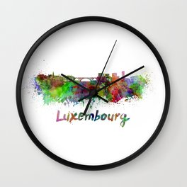 Luxembourg skyline in watercolor Wall Clock