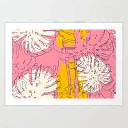 Modern Hawaiian abstract creative seamless pattern pink background Art Print