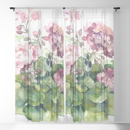 Watercolor pink geranium flowers aquarelle Sheer Curtain