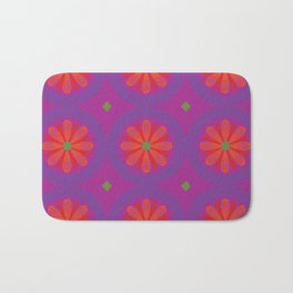 Magenta pattern with geometric flowers Bath Mat