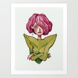 A concerned pink cabbage and star fruit Art Print