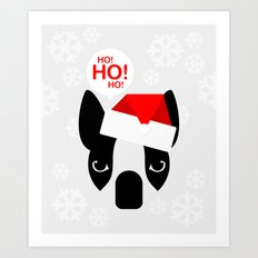 Santa Boston Terrier Art Print