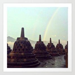 Borobudur Rainbow Art Print