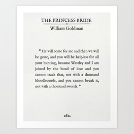 """Book Page - The Princess Bride """"The Bond of Love"""" Quote Art Print"""