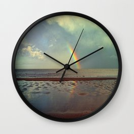 Rainbow Over Sea Wall Clock