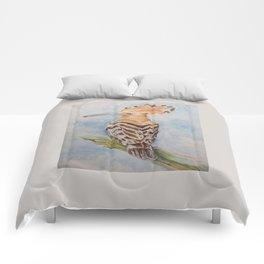 Hoopoe Bird Wildlife watercolor painting Pastel colors decor nature painting Comforters