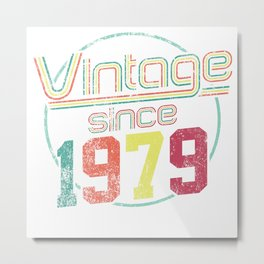 Vintage Retro Born Birth 1979 40th Birthday Gift Metal Print