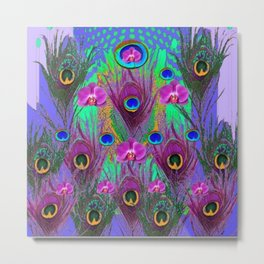Blue Green Peacock Feathers Lavender Orchid Patterns Art Metal Print