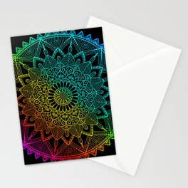 Black Rainbow Mandala Doodle Stationery Cards