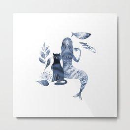 Mermaid and cat Metal Print