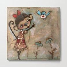 I Feel the Same  -  A Monkey, A Blue bird, and Love Metal Print