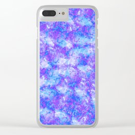 Purple, Blue and White; Fluid Abstract 54 Clear iPhone Case