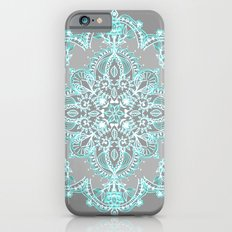 Teal and Aqua Lace Mandala on Grey iPhone 6 Slim Case