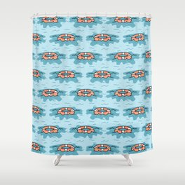 Cute lifering floating on the sea cartoon seamless pattern. Shower Curtain