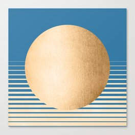 Sun Gradient - Orange Sherbet Shimmer on Saltwater Taffy Teal Canvas Print