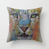 snow leopard Throw Pillows featuring Leopard by Michael Creese