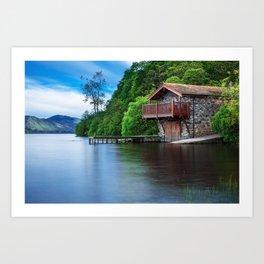 Smooth as Glass Lake and Boathouse Art Print