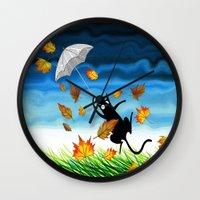 umbrella Wall Clocks featuring Umbrella  by Andrew Hitchen