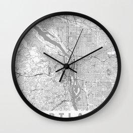 Portland City Map Line Wall Clock