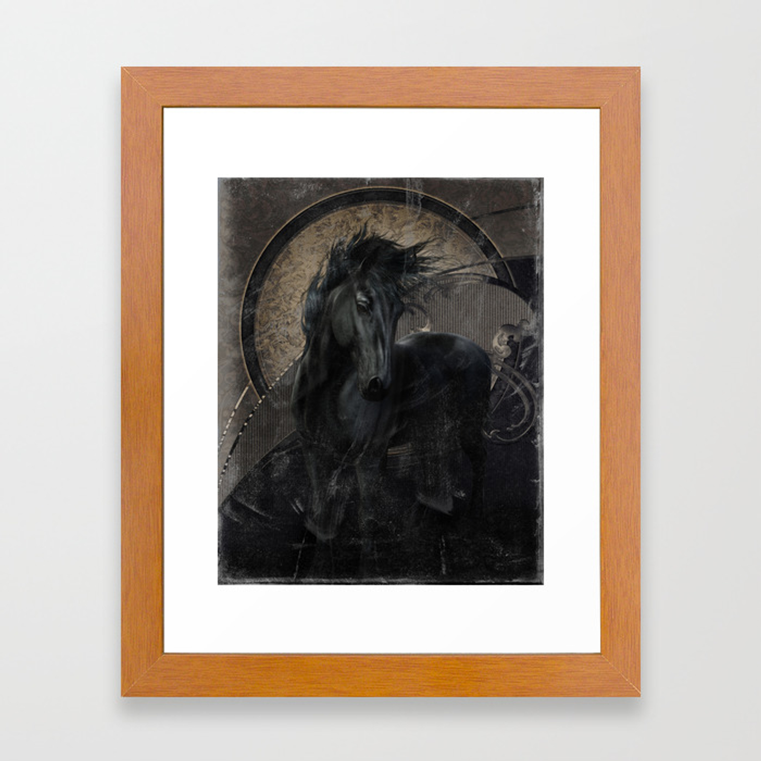 Gothic Friesian Horse Framed Art Print By Simonegatterwe Society6