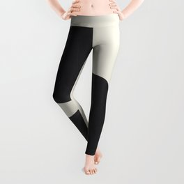 Black & White Minimalist Abstract Shapes Patterns Black Ink Painting Leggings