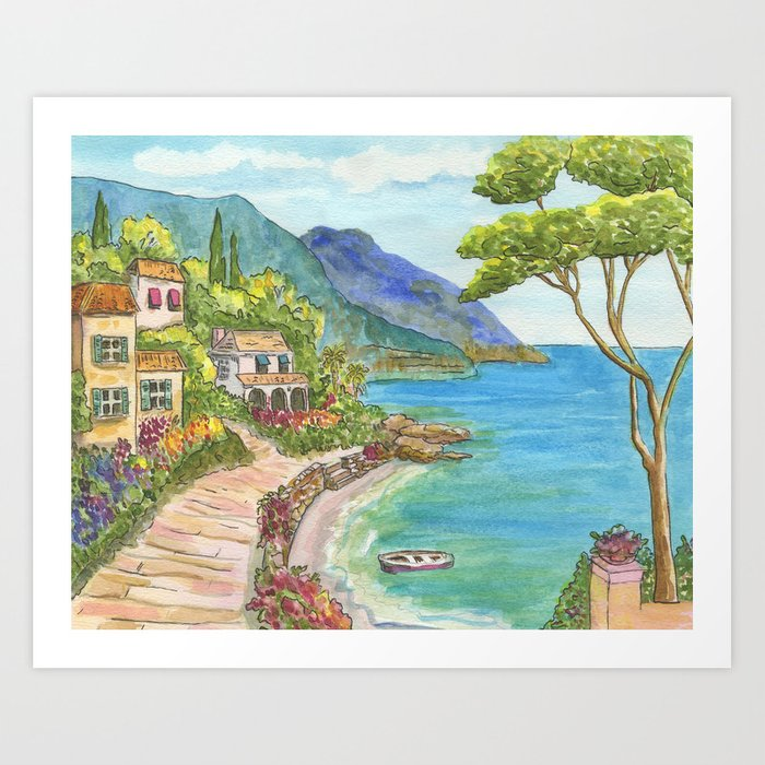 Seaside Village Art Print