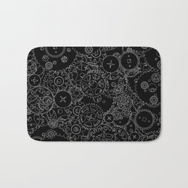 Clockwork B&W inverted / Cogs and clockwork parts lineart pattern Bath Mat