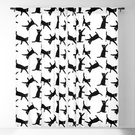 Cats Black on White Blackout Curtain