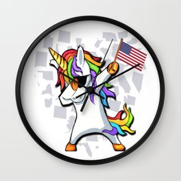 Dabbing Unicorn 4th of July Independence Day Wall Clock