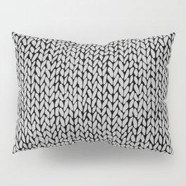 Hand Knit Grey Black Pillow Sham