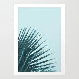 Blue Palm Leaf Art Print