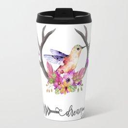 Hummingbird on floral Antlers and Dream arrow Travel Mug