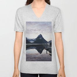 Sunset to die for at Milford Sound Unisex V-Neck