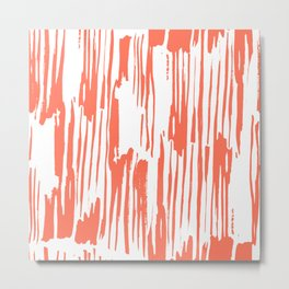 Bamboo Stripes White on Deep Coral Metal Print