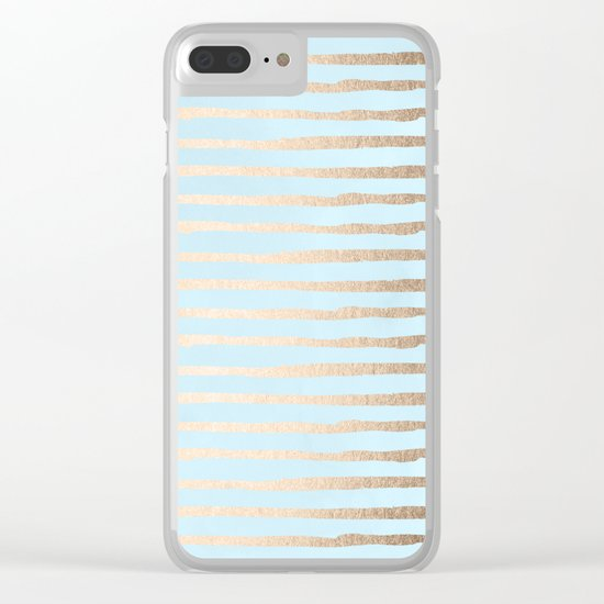 Abstract Stripes Gold Tropical Ocean Sea Turquoise Clear iPhone Case
