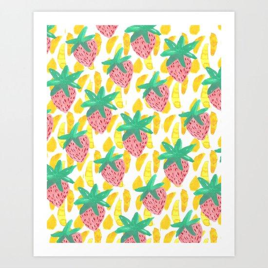 Pink Strawberries Art Print