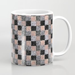 Rustic Charcoal Peach Black Patchwork Coffee Mug