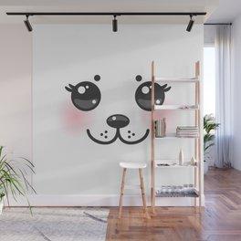Kawaii funny albino animal white muzzle with pink cheeks and big black eyes Wall Mural