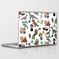 jurassic park Laptop & iPad Skins featuring Jurassic Park Bits by Lacey Simpson